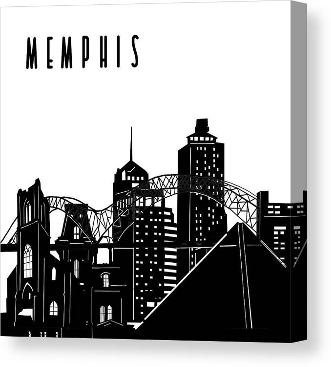 Memphis Canvas Print featuring the digital art Memphis Skyline Panorama by Bekim M