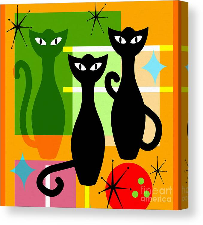 Wingsdomain Canvas Print featuring the digital art Mid Century Modern Abstract Mcm Bowling Alley Cats 20190113 Square by Wingsdomain Art and Photography