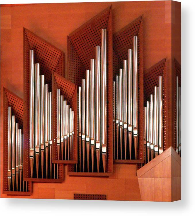 Orange Color Canvas Print featuring the photograph Organ Of Bilbao Jauregia Euskalduna by Juanluisgx