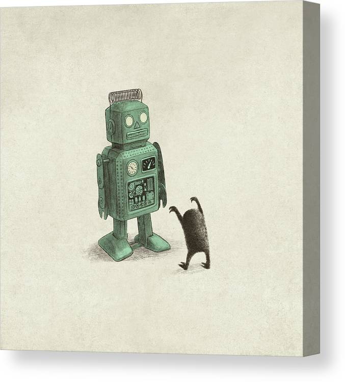 Vintage Canvas Print featuring the drawing Robot Vs Alien by Eric Fan