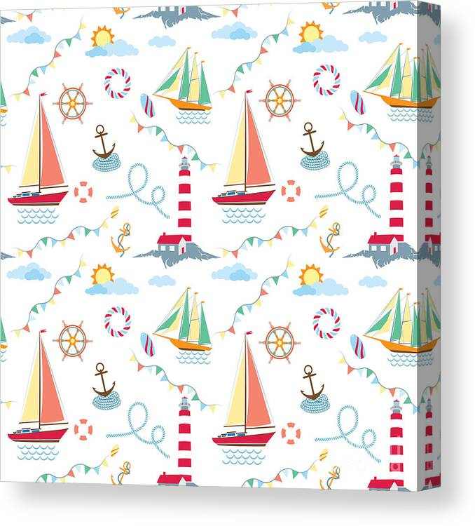 Lifebuoy Canvas Print featuring the digital art Seamless Marine Pattern With Ships by Julia kondakov