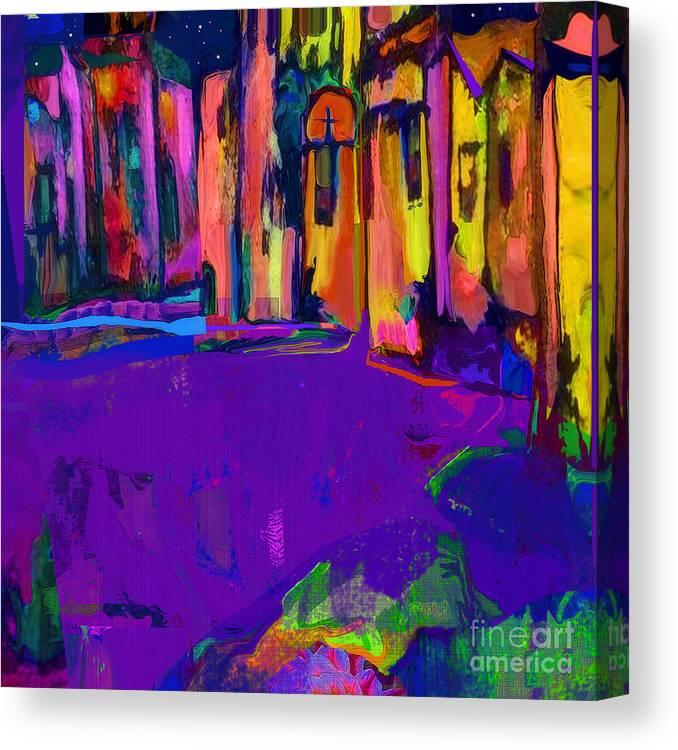 Canvas Santa Fe >> Good Night Santa Fe In Lavender And Gold Canvas Print
