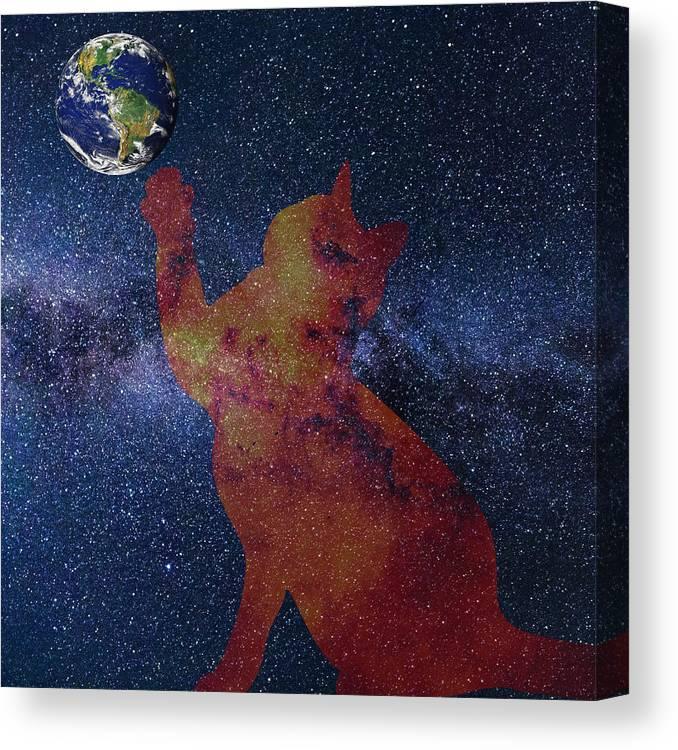 Cat Canvas Print featuring the digital art Star Cat by Alex Mir