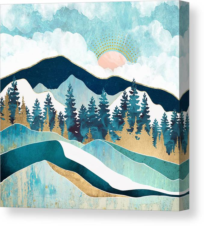 Summer Canvas Print featuring the digital art Summer Forest by Spacefrog Designs