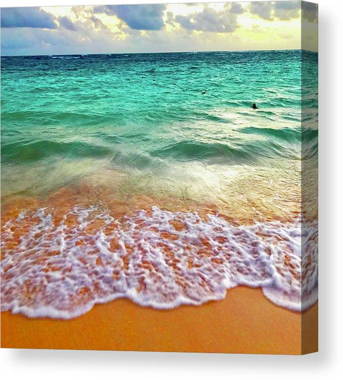 Canvas Print featuring the digital art Teal Shore by Cindy Greenstein