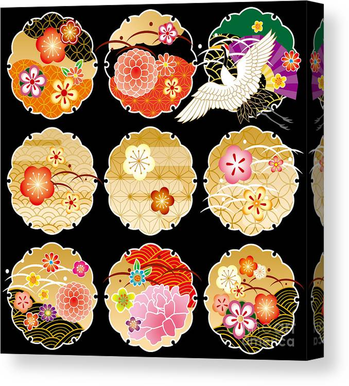 Monkey Canvas Print featuring the digital art The Beautiful Pattern Of Japan by Rie Sakae