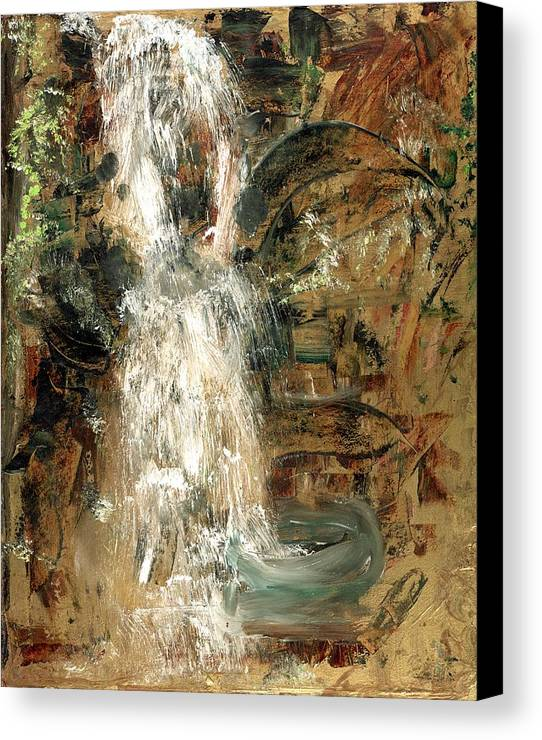 Waterfall Canvas Print featuring the painting Oriental Waterfall by Michela Akers
