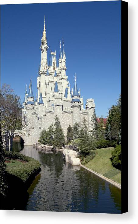 Cinderella Castle Canvas Print featuring the photograph Cinderella Castle Reflections by Charles Ridgway
