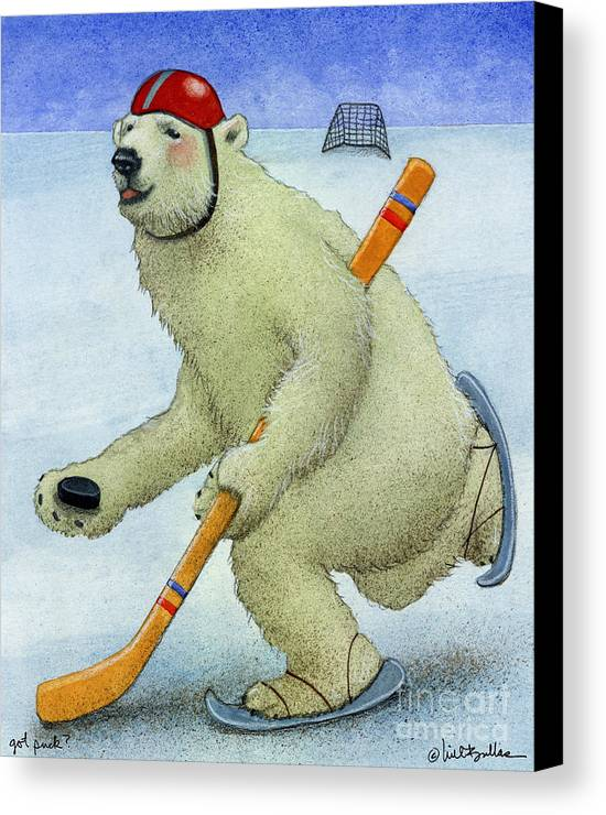 Will Bullas Canvas Print featuring the painting Got Puck... by Will Bullas