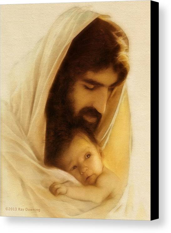 Jesus Canvas Print featuring the digital art Suffer The Little Children by Ray Downing