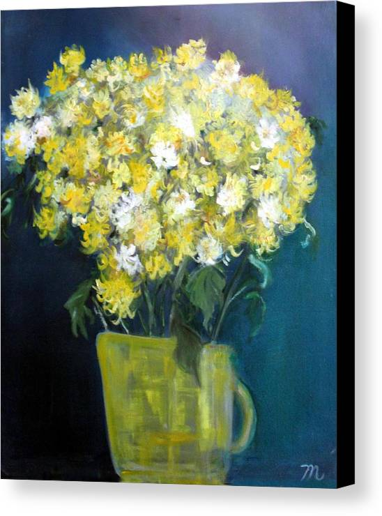 Chrysanthemums Canvas Print featuring the painting Chrysanthemums by Michela Akers