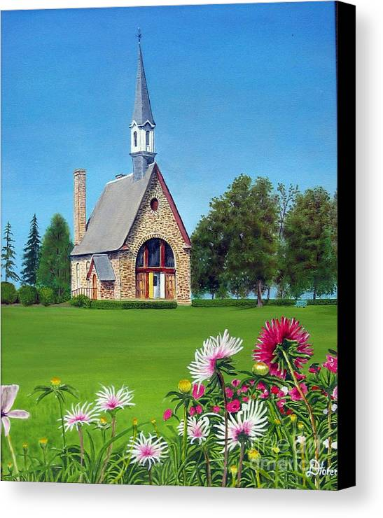 Nova Scotia Canvas Print featuring the painting Evangeline Museum by Donald Hofer