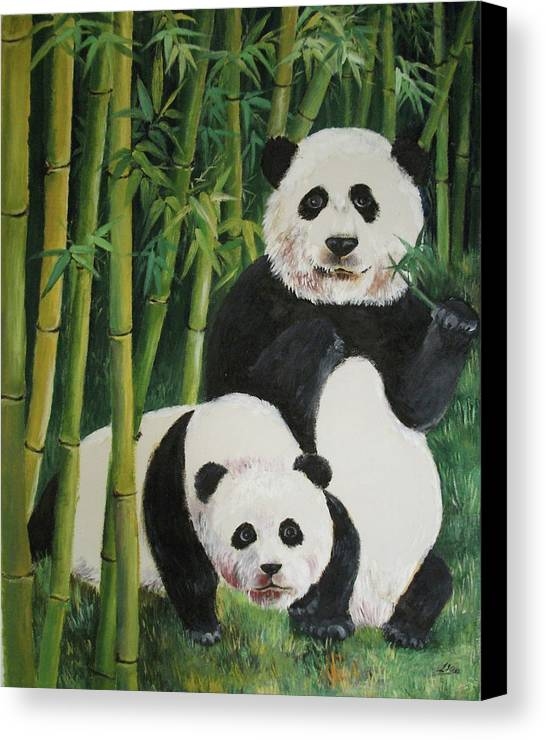 Nature Canvas Print featuring the painting Mother And Child 2 by Lian Zhen