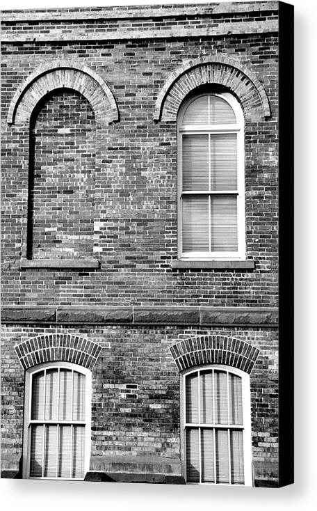Architecture Canvas Print featuring the photograph 3 Quaters Black And White by Caroline Clark