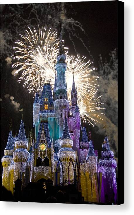 Cinderella Castle Canvas Print featuring the photograph Cinderella Castle Spectacular by Charles Ridgway