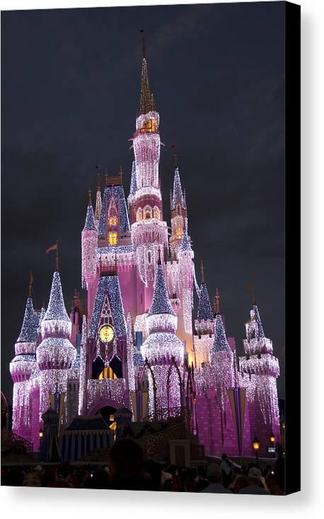 Walt Disney World Canvas Print featuring the photograph Glittering Cinderella Castle by Charles Ridgway