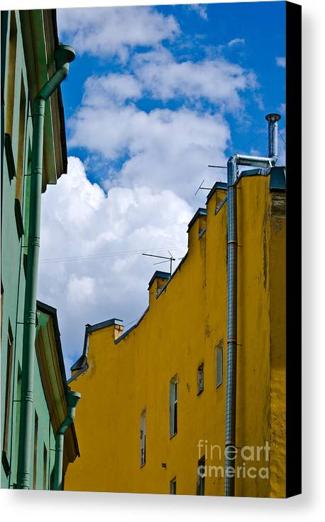 Yellow Canvas Print featuring the photograph Has Opened Eyes And Has Looked In The City Sky... by Vadim Grabbe