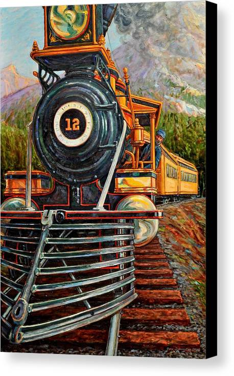 Train Canvas Print featuring the painting No.12 In The Mountains by Gary Symington