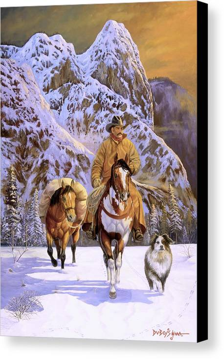 Cowboy Canvas Print featuring the painting Pardners by Howard Dubois