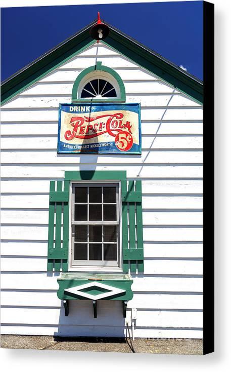 Ambler's Texaco Gas Station Canvas Print featuring the photograph Pepsi Window At Ambler's Texaco Gas Station by John Rizzuto