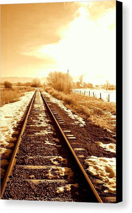 Railroad Canvas Print featuring the photograph Tracks by Caroline Clark
