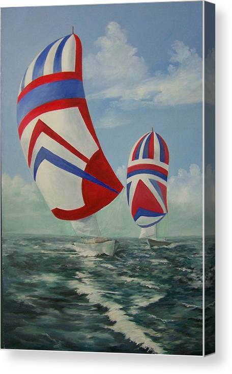 Sailing Ships Canvas Print featuring the painting Flying The Colors by Wanda Dansereau