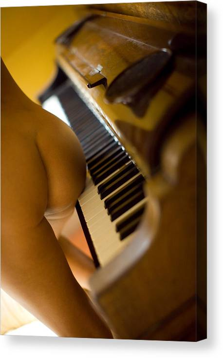 Sensual Canvas Print featuring the photograph The Piano by Olivier De Rycke