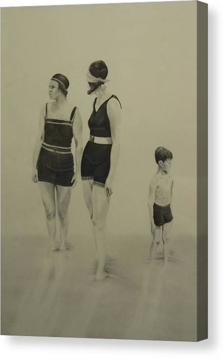 Figurative Canvas Print featuring the drawing Two Women Bathers With Child by John C