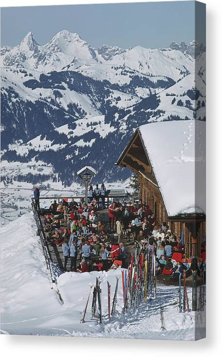 Gstaad Canvas Print featuring the photograph Eagle Club by Slim Aarons