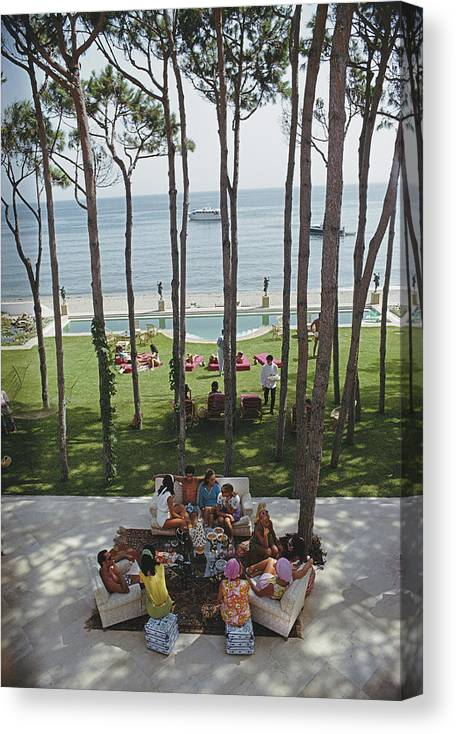 People Canvas Print featuring the photograph Party In Marbella by Slim Aarons