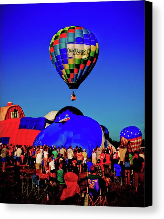 29th Annual Quick Chek New Jersey Festival Of Ballooning Canvas Print featuring the photograph First Ascension by David Hahn