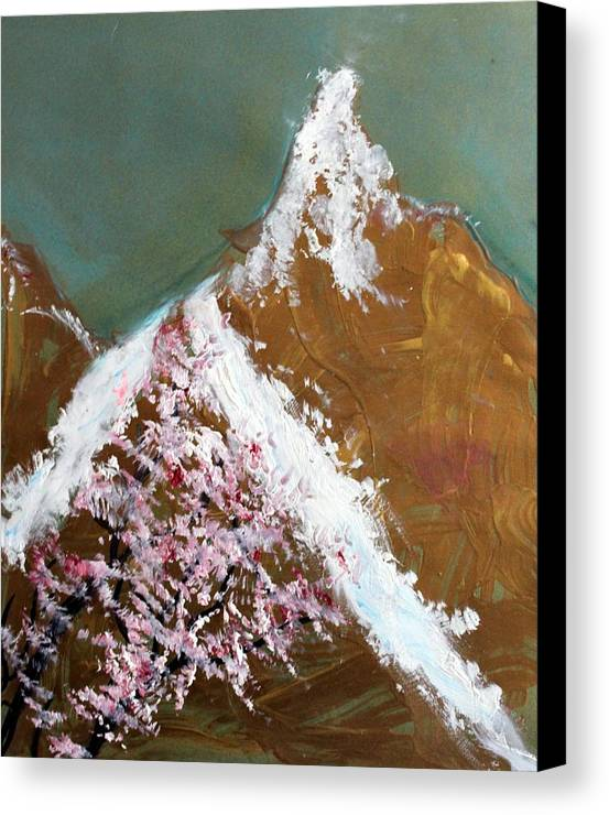 Landscape Canvas Print featuring the painting Cherry Blossoms On Gold Mountain by Michela Akers