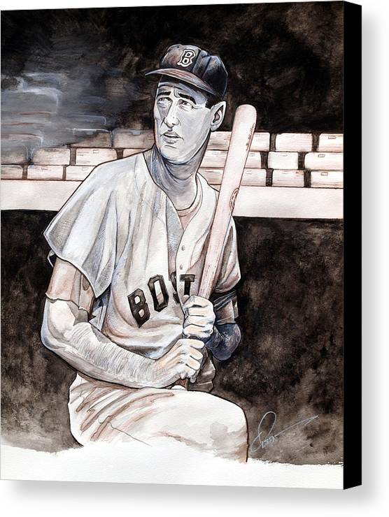 Ted Williams Canvas Print featuring the painting Ted Williams by Dave Olsen