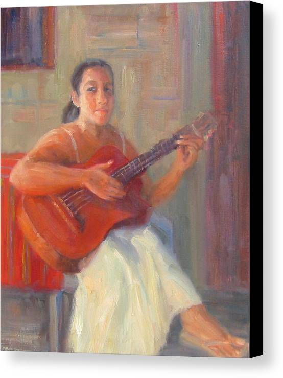 Honduras Canvas Print featuring the painting La Guitarista by Bunny Oliver