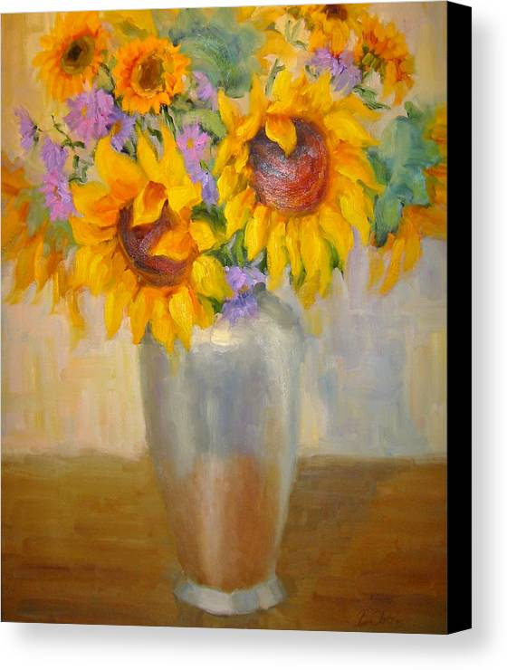 Sunflowers Canvas Print featuring the painting Sunflowers In A Silver Vase by Bunny Oliver