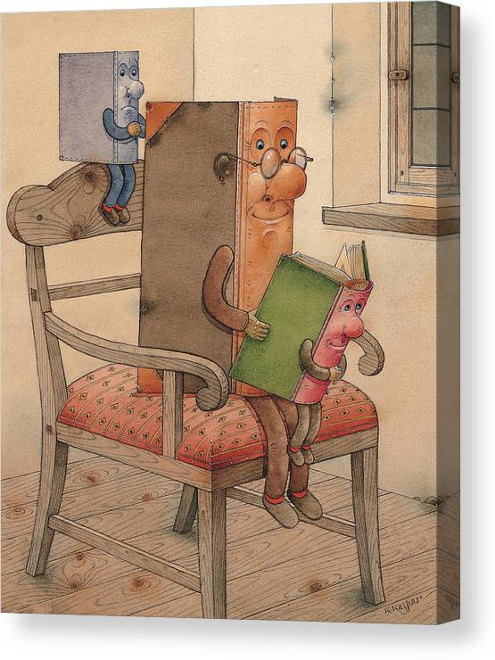 Books Canvas Print featuring the painting Three Books by Kestutis Kasparavicius