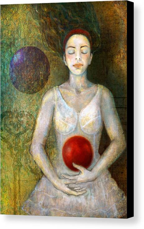 Girl Canvas Print featuring the painting Dreaming by Katherine DuBose Fuerst
