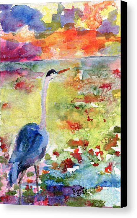 Landscape Canvas Print featuring the painting Blue Heron Sunset Watercolor By Ginette by Ginette Callaway