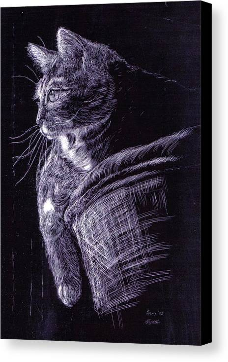 Cat Canvas Print featuring the painting Cat At The Window by Roger Parnow