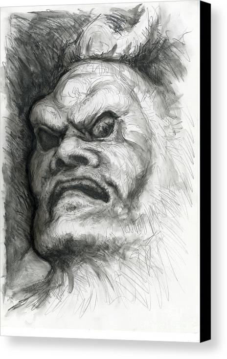 Fantasy Canvas Print featuring the drawing Japanese Demon by Tim Thorpe