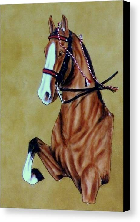 Horses Canvas Print featuring the painting Saddlebred by Lilly King