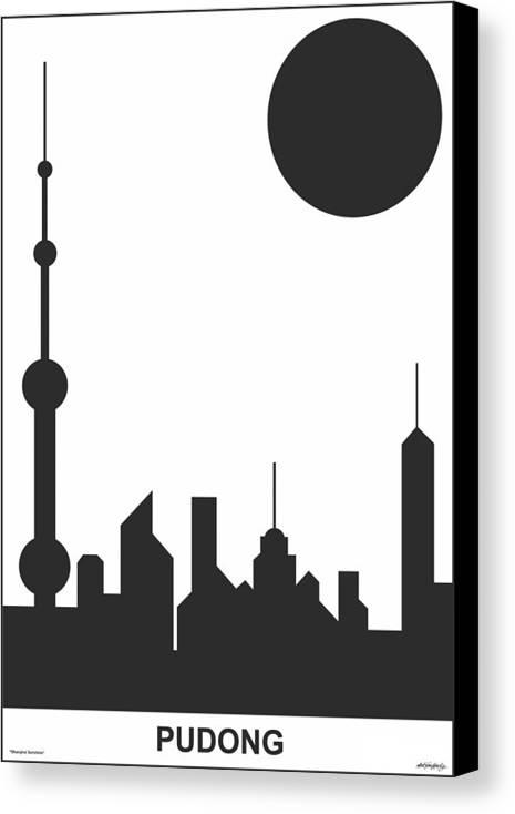 Shanghai Sunshine Canvas Print featuring the digital art Shanghai Sunshine Black White by Asbjorn Lonvig