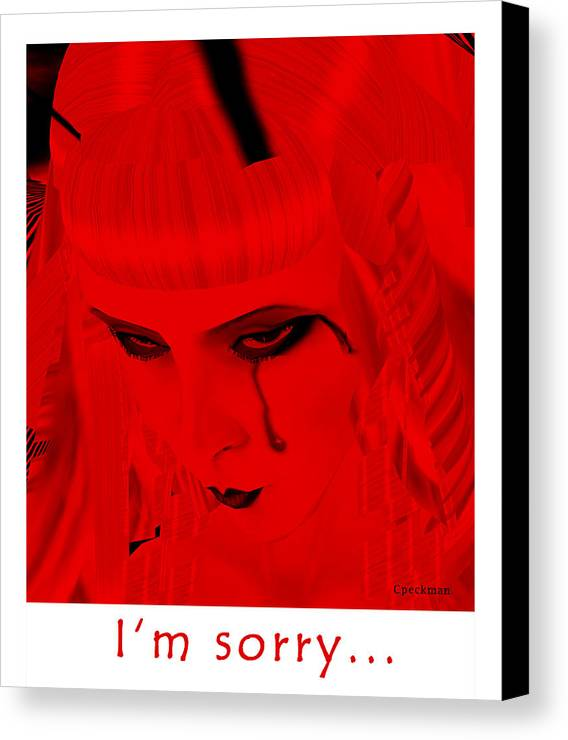 I Am Sorry Canvas Print featuring the digital art I Am Sorry by Constance Peckman