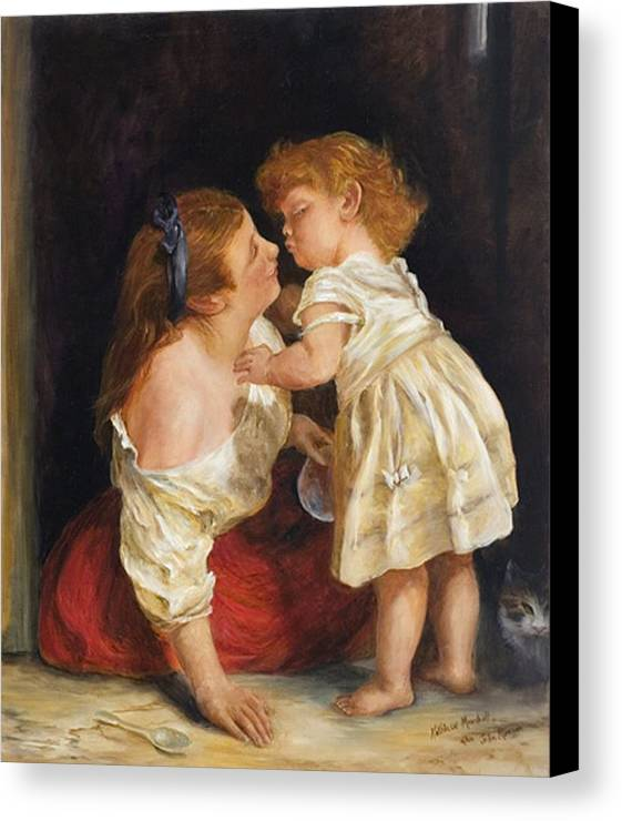 Mother And Child Canvas Print featuring the print The Kiss After John Morgan 1800 by Kathleen Marshall McConnell