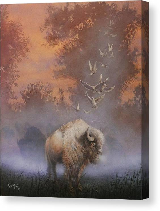 White Buffalo Canvas Print featuring the painting White Buffalo Spirit by Tom Shropshire