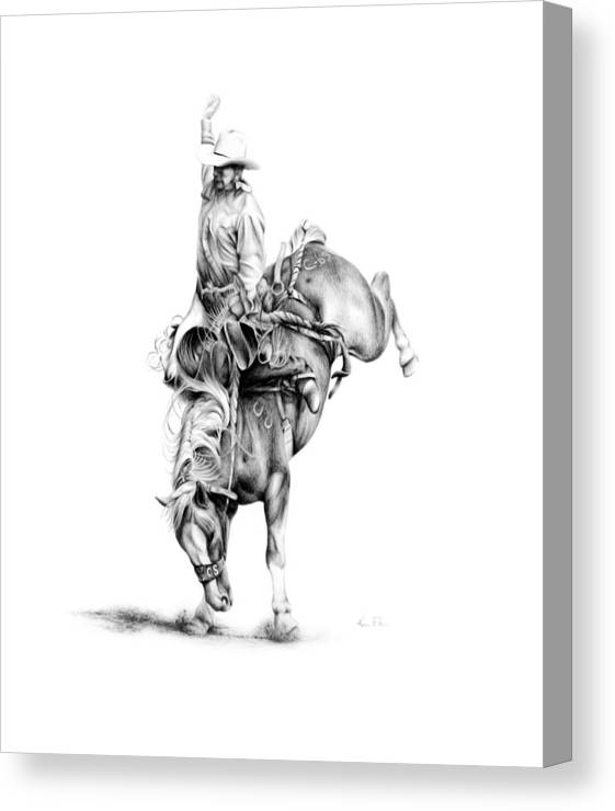 Rodeo Scene Canvas Print featuring the drawing A Good Ride by Karen Elkan