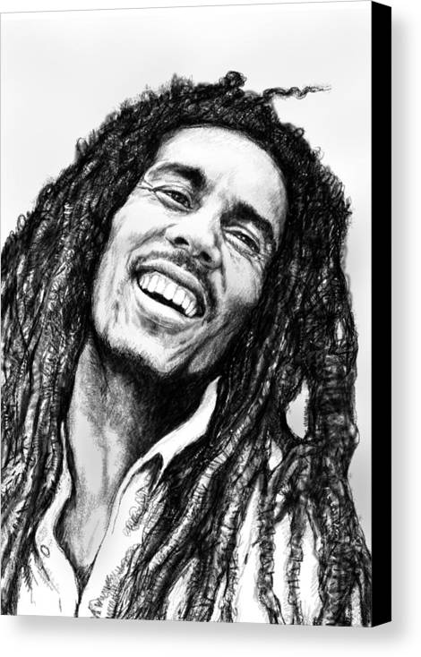 Bob Marley Art Drawing Sketch Portrait Canvas Print