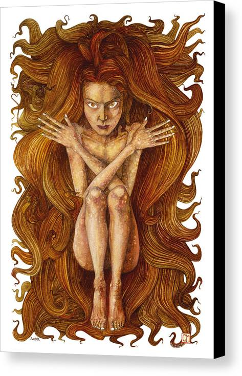 Watercolor Canvas Print featuring the painting Angel by Connor Maguire