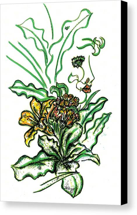 Eve Collection Canvas Print featuring the drawing Lady Of The Garden by Judith Herbert