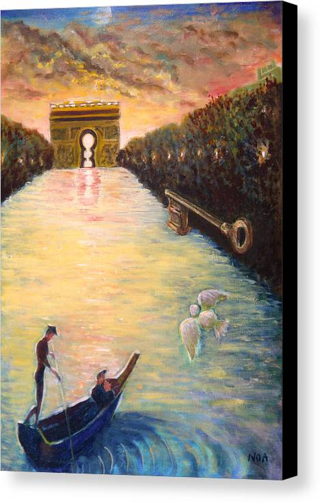 Lovers Canvas Print featuring the painting Musing On The Champs-elysees by Aymeric NOA